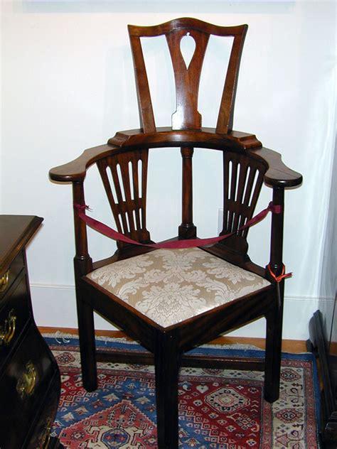 high back walnut corner chair circa 1740
