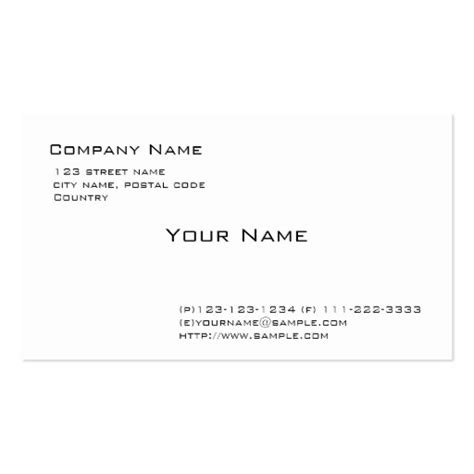 Plain White Business Card Template by Plain White Pack Of Standard Business Cards Zazzle