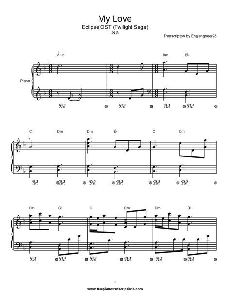 sia my love mp3 my love sia twilight eclipse ost piano plateau sheet