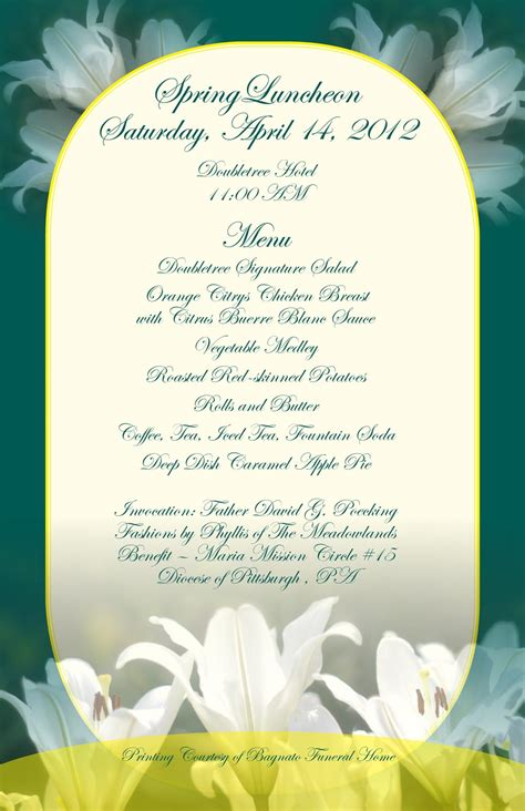 ladies luncheon menu     whats