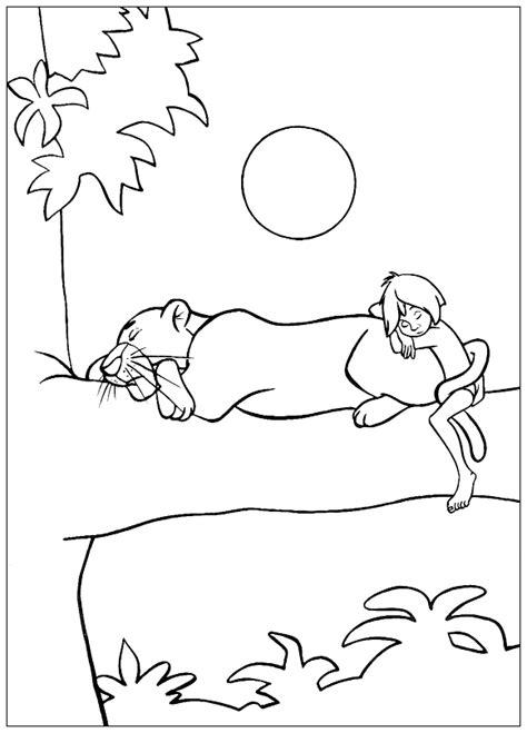 Coloriage - Bagheera et Mowgli