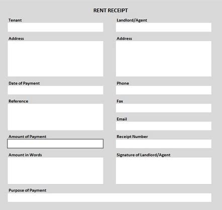 Rent Payment Receipt Template Uk by Free Rent Receipt Template In Excel Pdf