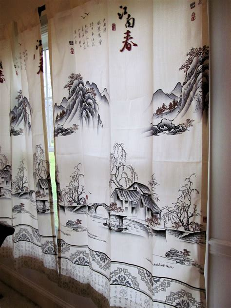 painting sheer curtains curtain panel spring of yangzhi country ink brush