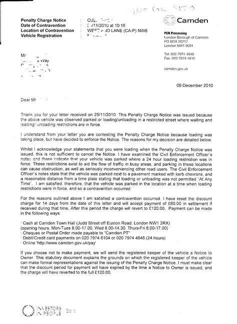Speeding Ticket Appeal Letter Sle Fightback Forums Gt Camden Council Becoming More Tight Fisted