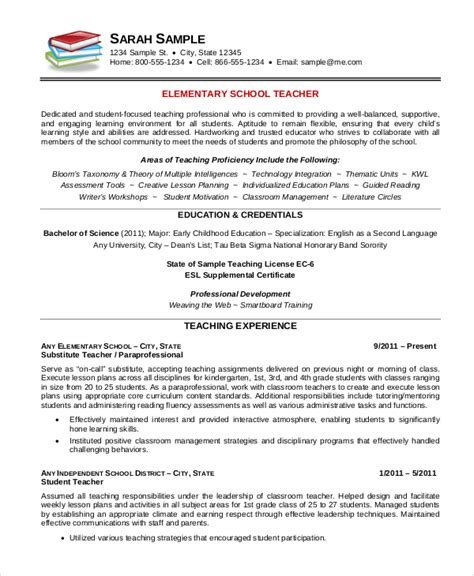 Free Resume Templates For Teachers by Elementary Resume Template 7 Free Word Pdf