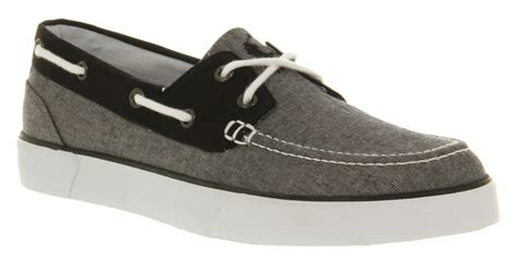 mens ralph lander canvas boat shoe grey chambray