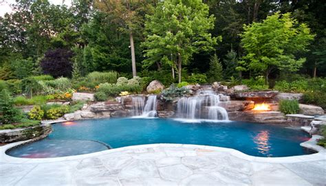 inground pool with waterfall unique pool ideas custom volcanic fire pit inground