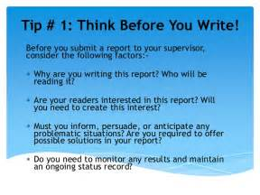 Report Writing Tips by Top 8 Tips On Writing Project Reports