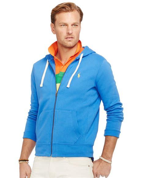 Polos Zip Hoodie lyst polo ralph big and sleeve fleece zip hoodie in blue for