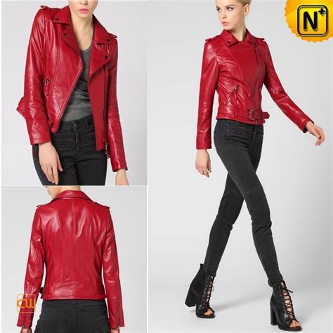 red motorcycle jacket womens leather biker jackets red cw650032