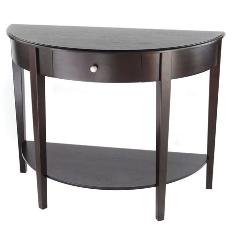 small half moon table with drawer bay shore collection large half moon round hall table with