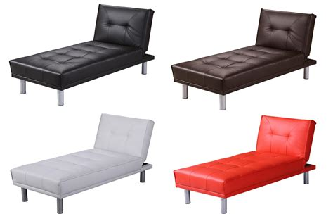 Single Sofa Bed Ebay Chaise Longue 1 Seater Single Chair Sofa Bed Faux Leather Black White Brown Ebay