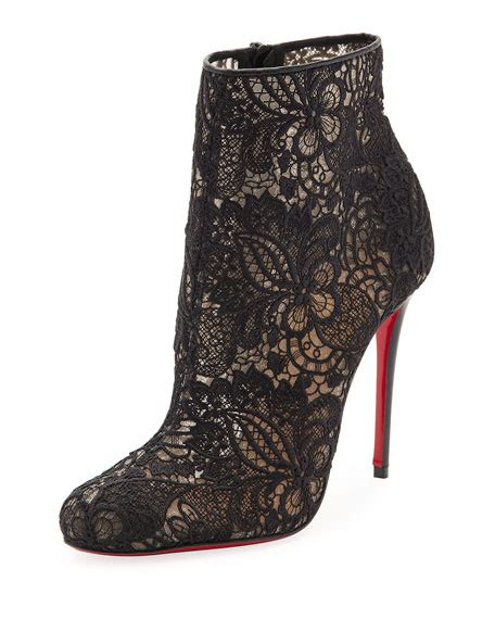 christian louboutin  tennis net lace red sole bootie