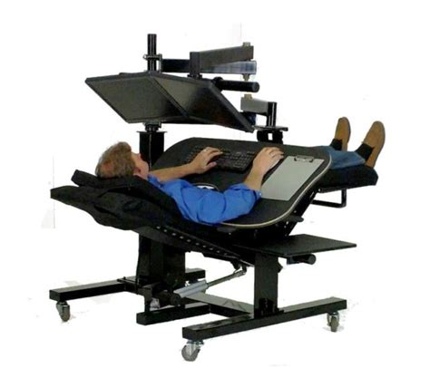 reclining office chair with monitor ergoquest zero gravity workstations