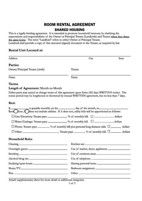 free santa county california room rental agreement