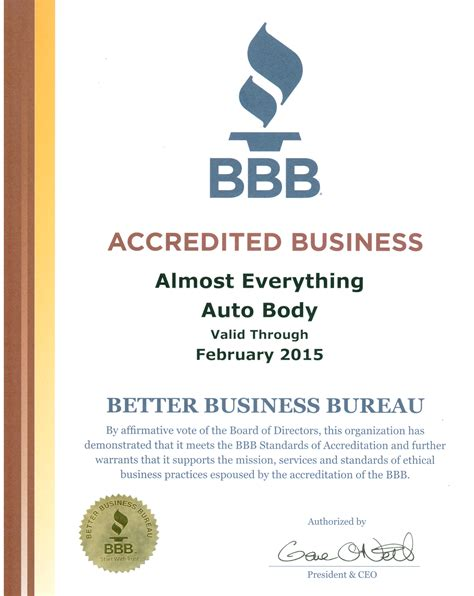 better business bureau certification auto collision repair car paint in fremont hayward