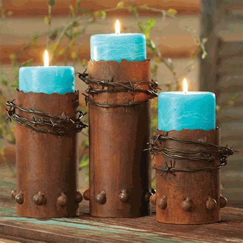 barbed wire candle holders with candles set of 3