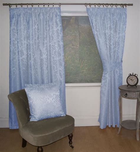 blue lined curtains jacquard floral damask blue lined pencil pleat curtains