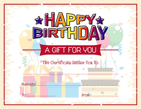 Free Printable Birthday Gift Certificates Free Birthday Gift Certificate Template Formal Word