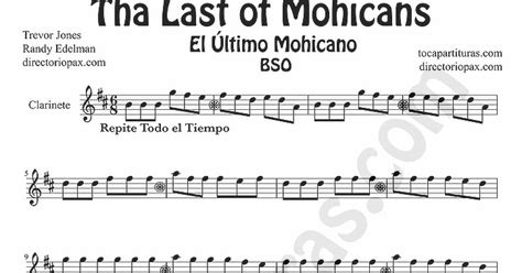 theme song last of the mohicans tubescore the last of the mohicans sheet music for