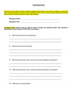 employee exit template word sle exit form 10 exles in pdf word