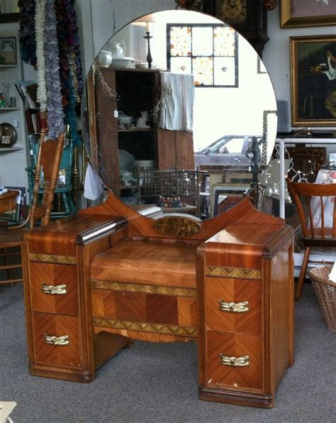 antique waterfall vanity bench 1930 1940 s deco wood inlay vanity dressing table with