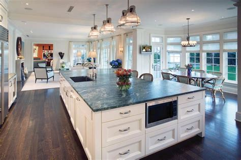 Large Kitchen Island Ideas Striking Large Kitchen Islands With Breakfast Bar And Black Undermount Composite Kitchen Sink