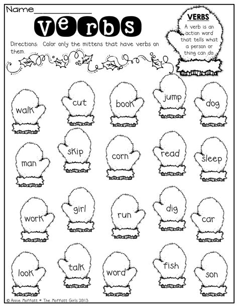 Verbs Worksheet For Grade 1