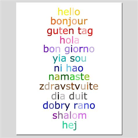 colors in different languages hello 8x10 typography print with hello in different
