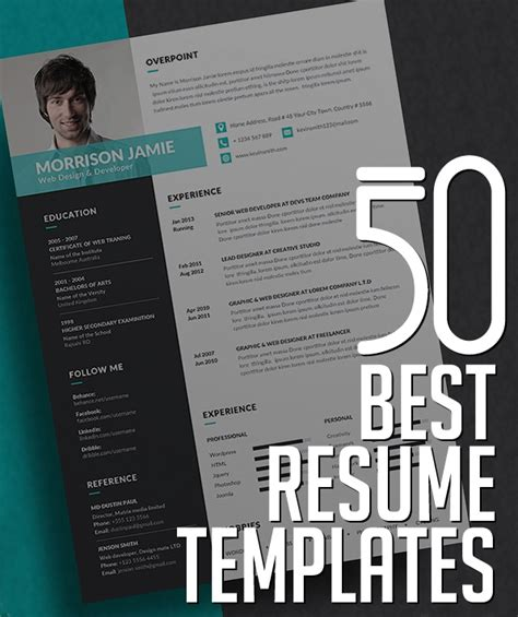 best resume design templates 50 best resume templates design graphic design junction