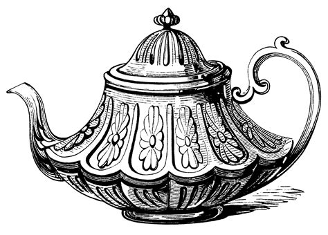 Victorian Tea Pot ~ Free Clip Art   Old Design Shop Blog