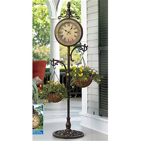 Outdoor Standing Clock With Planter by The Item Is No Longer Available