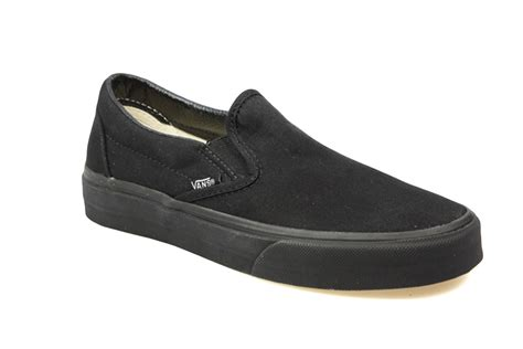 vans classic slip on mens womens all black canvas skate