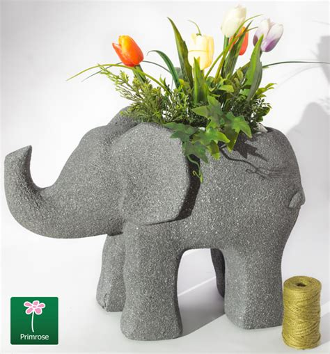 elephant wall planter h33cm grey fibrecotta elephant planter with sandstone
