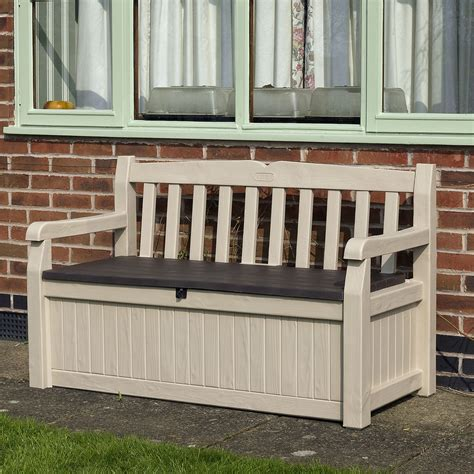 b q garden bench wood effect plastic garden bench storage box