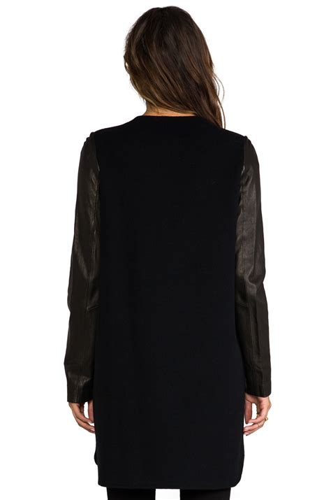Shopping Amanda Wakeley Batwing Sleeve Leather Jacket by Vince Wool Coat With Leather Sleeves In Black
