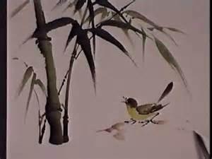 Bamboo Wall Mural bamboo and bird chinese brush painting by virginia lloyd