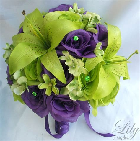 17pcs wedding bridal bouquet flowers decoration package green purple ebay
