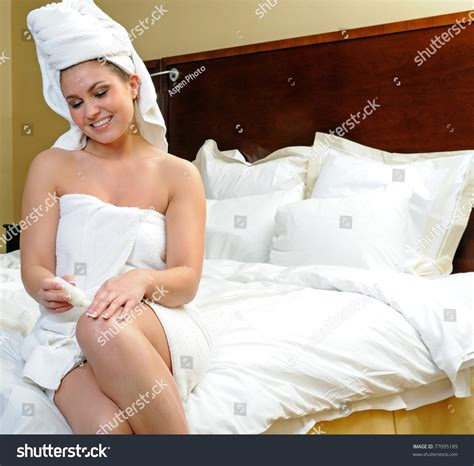 Legs After Shower by Wearing Only Towles Stock Photo 77095189