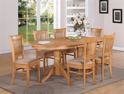 Oak Dining Room Set 7 Pc Vancouver Oval Dinette Kitchen Dining Table W 6 Upholstery Chairs In Oak