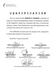 Certification Letter For Ojt ojt certificate central azucarera don ojt certificate