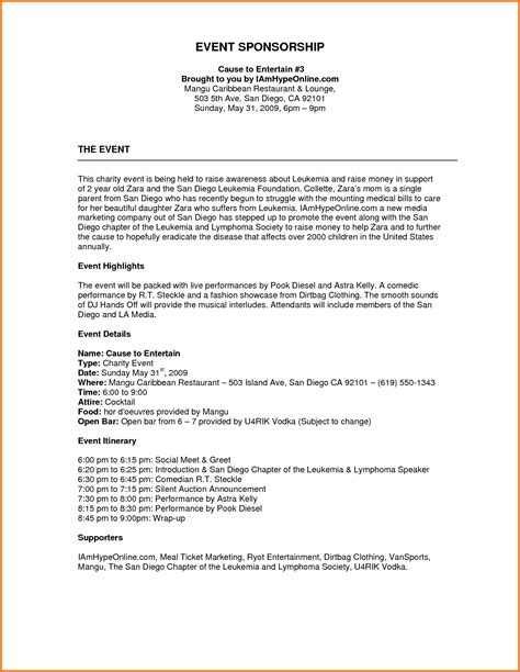 Event Proposal Exle Mughals Bid Package Template