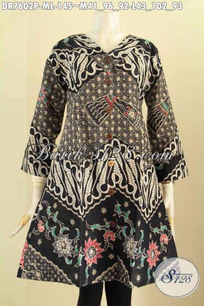 Dress Batik V Dress Batik Kantor Dress Batik Kondangan baju batik wanita kantor elegan dress kerah v motif