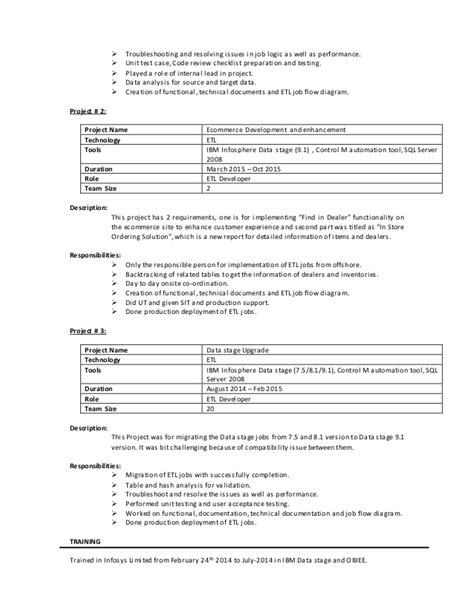 Datastage Developer Resume Exle by Datastage Developer With 2 2 Year Of Experience