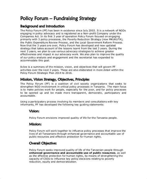 fundraising policy template fundraising strategy template 6 free word pdf document