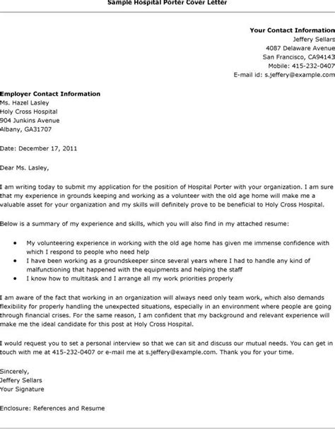 Cover Letter For Hospital by Cover Letters For Hospital 8169