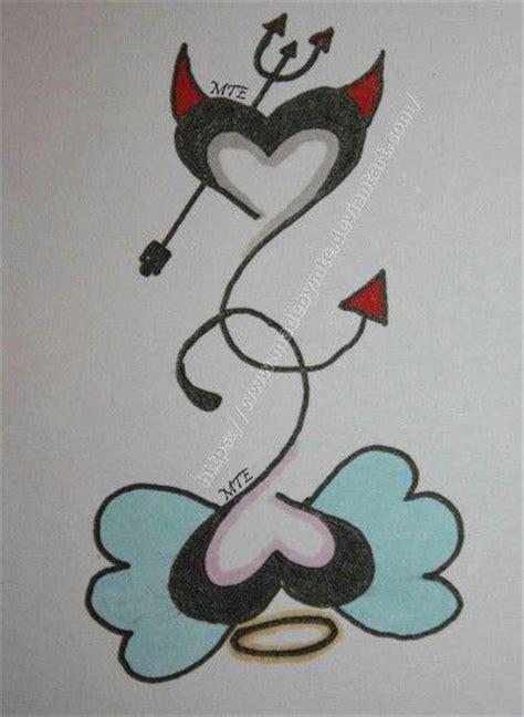angel devil heart tattoo designs ideas