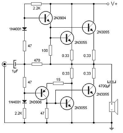 2n3055 transistor lifier schematic 90 w audio power lifier based on transistor circuit wiring diagrams