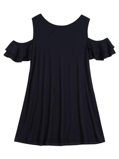 Cold Shoulder T Shirt Dress cold shoulder ruffle t shirt dress black casual dresses s
