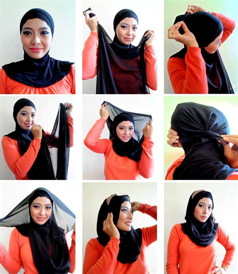 www tutorial classy simple black hijab tutorial step by step hijabiworld